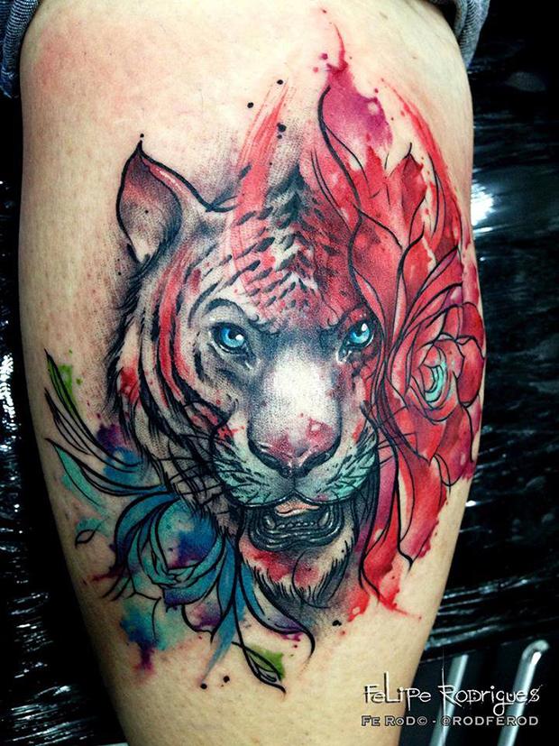 Watercolor tattoo Felipe Rodrigues tigre