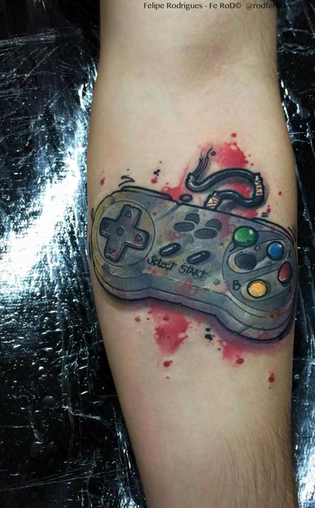 Watercolor tattoo Felipe Rodrigues nintendo