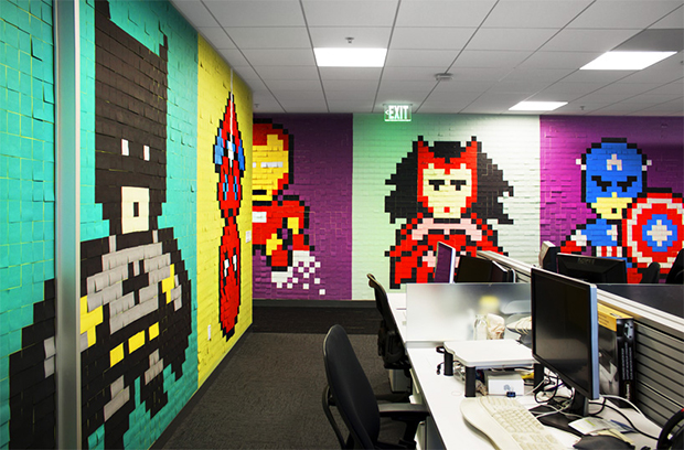 Post its super-heróis escritório Ben Brucker 08