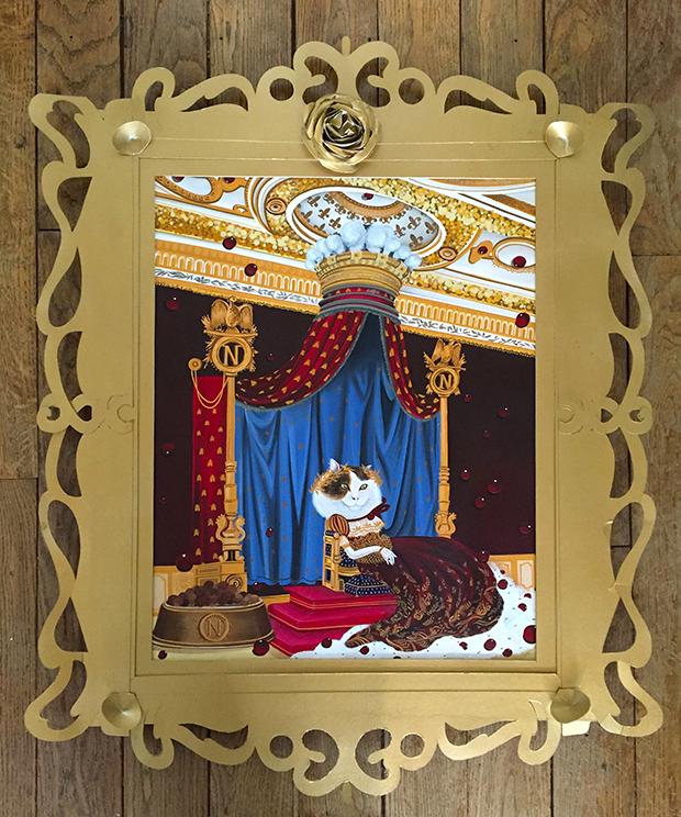 exposição Saramello França Ils sont partout pinturas gatos Le trône du Napoleon Bonachat