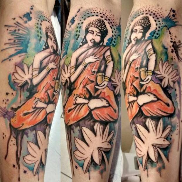 tattoo aquarela watercolor jorge Mitsunaga buddha