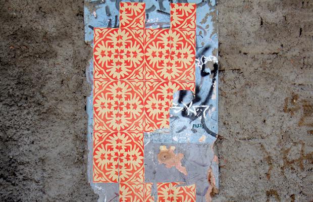 intervenções Poro azulejos de papel vermelho