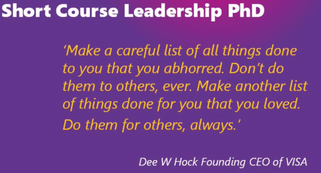 Dee Hack a course on leadership