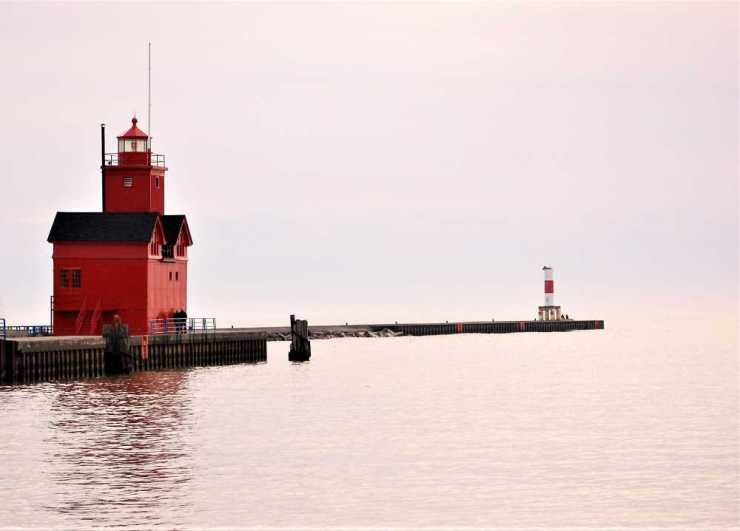 Big Red Lighthouse at Holland State Park in Michigan