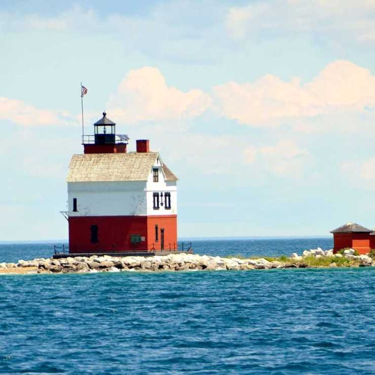 Round Lighthouse in the Straits of Mackinac