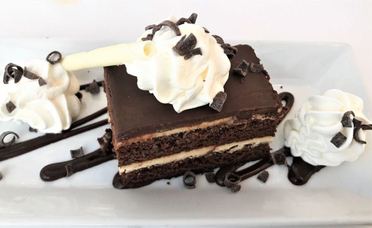 Dessert a Chocolate Peanut Butter Cake at Aerie Restaurant