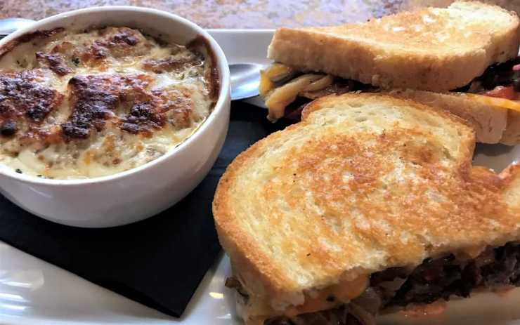 The Conquest with French Onion Soup at Olivia's Chophouse