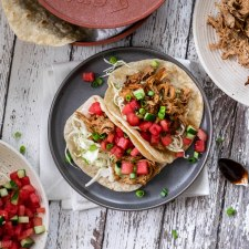 Asian Pork Tacos with Watermelon Cucumber Salsa