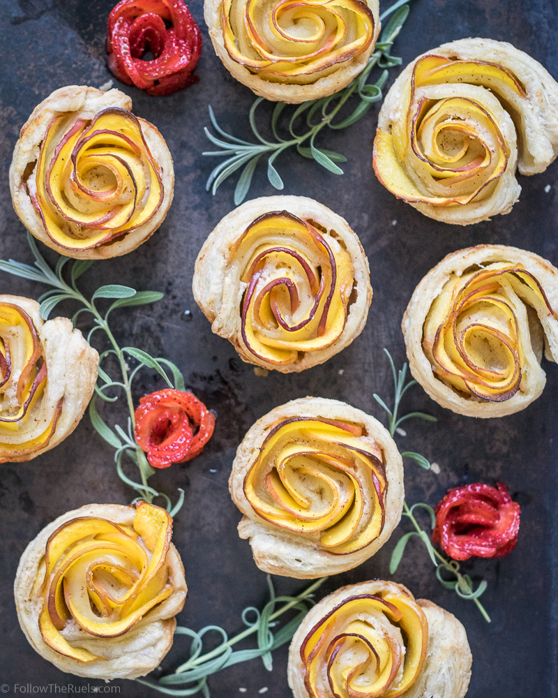 Pretty rosette peach tartlets