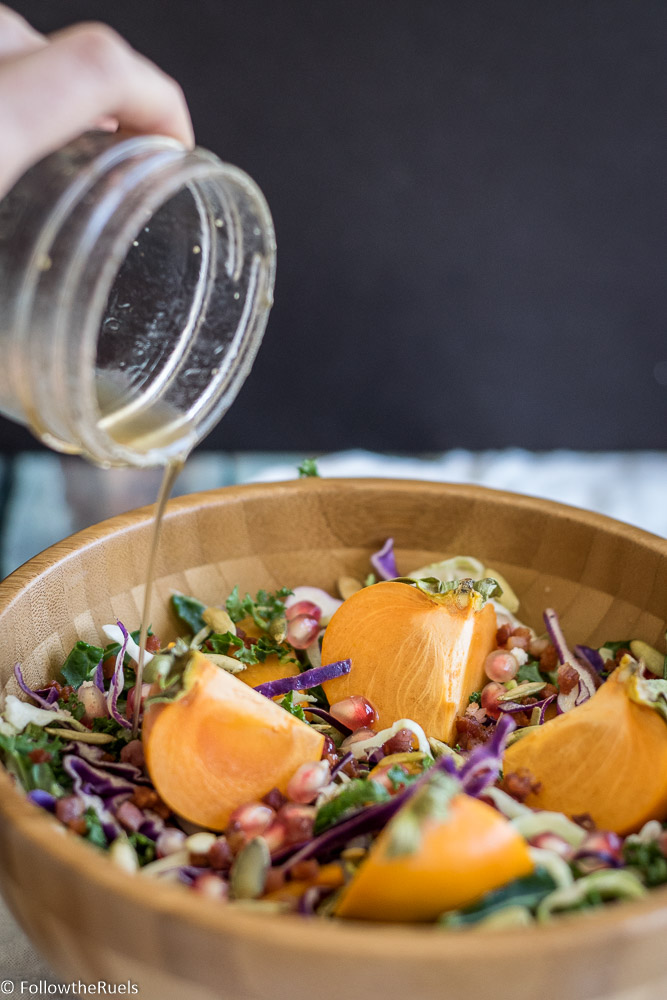 Persimmon salad with maple vinegrette