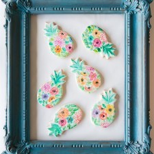 Watercolor Flower Pineapple Cookies