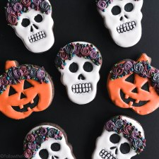 Chocolate Floral Crown Skull Sugar Cookies