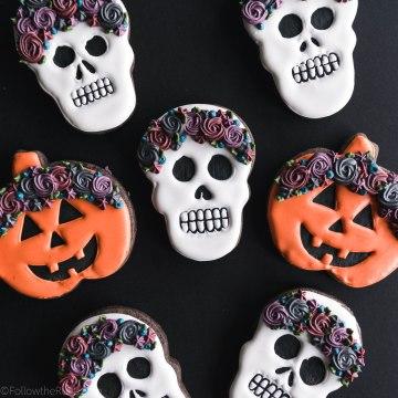 Chocolate Floral Crown Skull Sugar Cookies