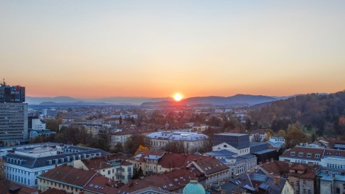 The sunset from Neboticnik, Ljubljana