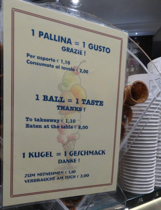 Prices of Italian ice cream in Trieste, Italy
