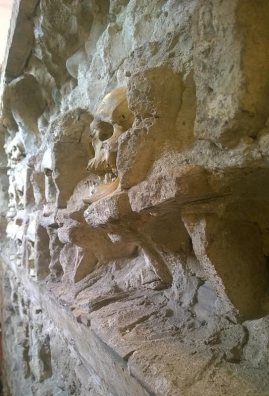 A skull embedded in The Skull Tower in Nis, Serbia