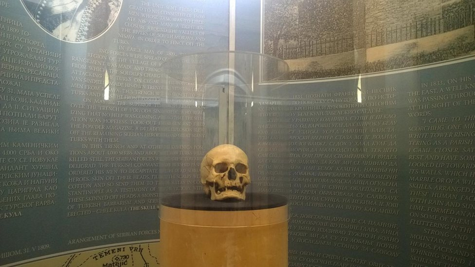 The skull of Stevan Sinđelić in Nis, Serbia