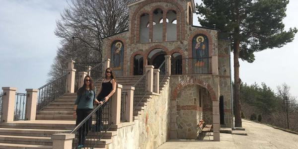 Nina And Ellie In Front Of The Holy Trinity Church