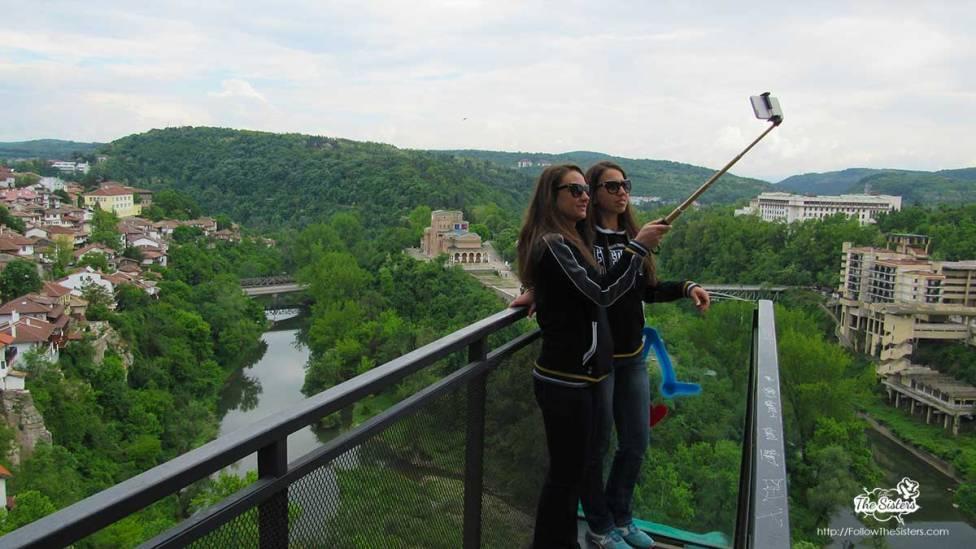 Nina and Ellie taking a selfie on Veliko Tarnovo-panoramic balcony