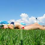 Laying on the grass in Varadero swimming pool
