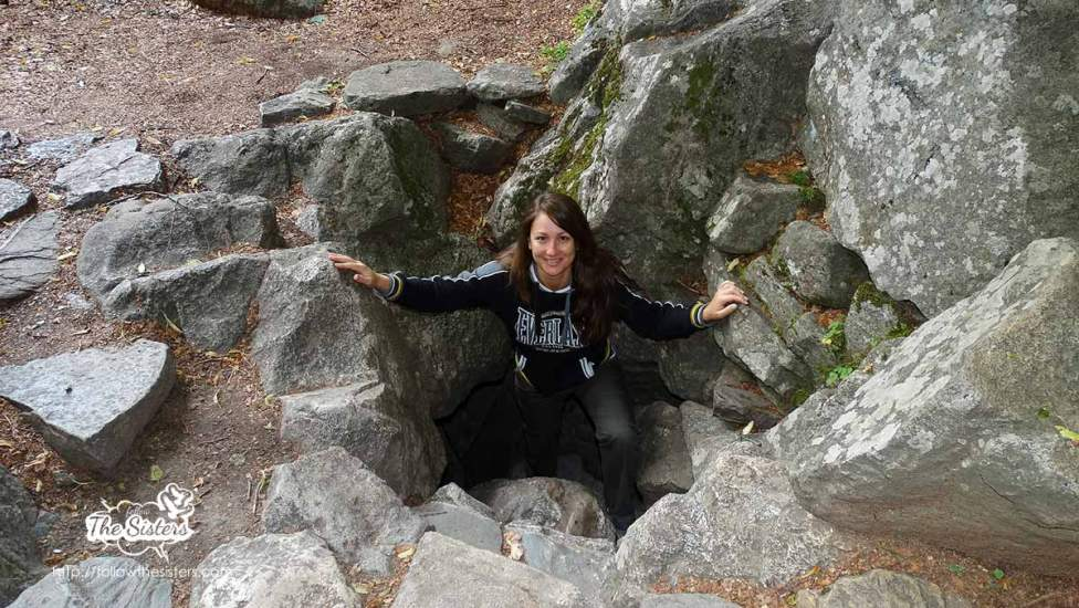 Nina coming out of St. Ivan Rilski's cave