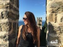Ellie at Piran Town Walls