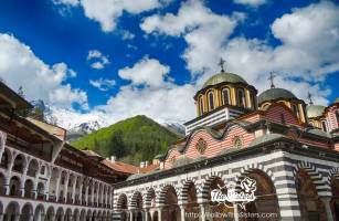 Snow On The Mountains Behind Rila Monastery