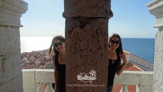 Having fun at Piran Bell Tower