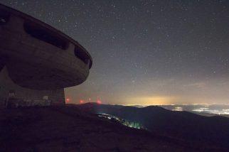 Buzludza monument at night