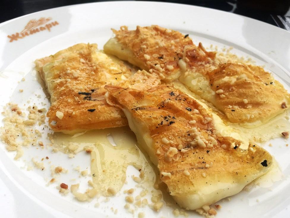 Yellow cheese honey wallnuts