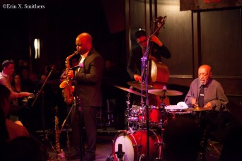 The Fountain of Youth band. Roy Haynes on drums, Jaleel Shaw on saxophones, Martin Berjerano on piano, and David Wong on bass.