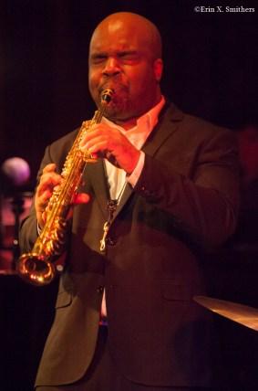 Jaleel Shaw on saxophone.