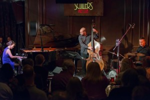 Yoko Miwa Trio at Scullers; with Yoko Miwa on piano, Will Slate on accustic bass, and Scott Goulding on drums. Photo by Caroline Alden.