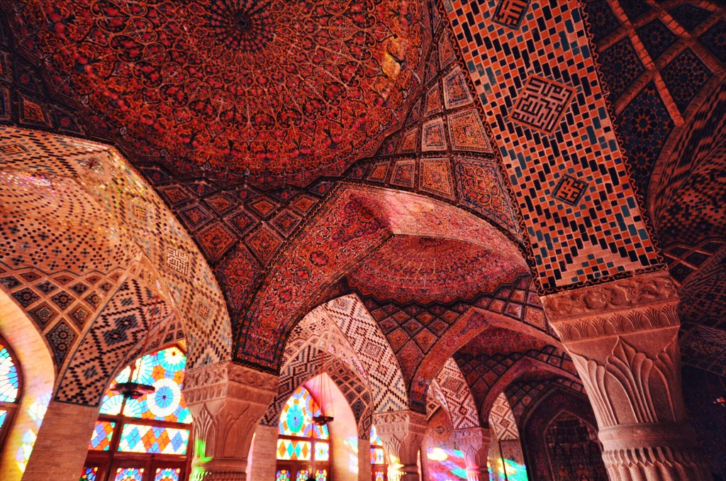 pink mosque in shiraz - nasir al mulk mosque in shiraz - pink walls