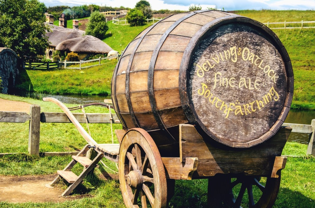 visiting hobbiton - hobbit village in New Zealand - barrel
