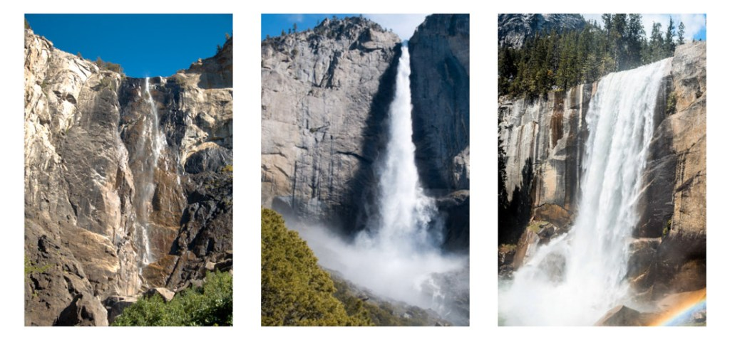 things to do in yosemite national park - Bridalveil Fall, Yosemite Falls and Vernal Fall