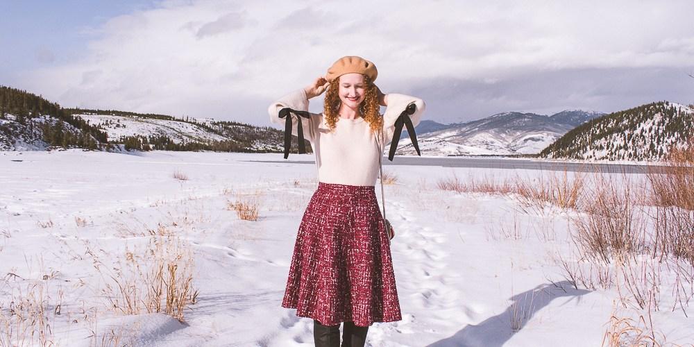 Gal Meets Glam red tweed skirt