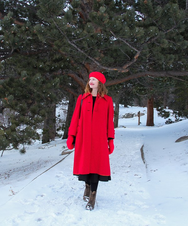 Getting Festive in a Vintage Red Coat