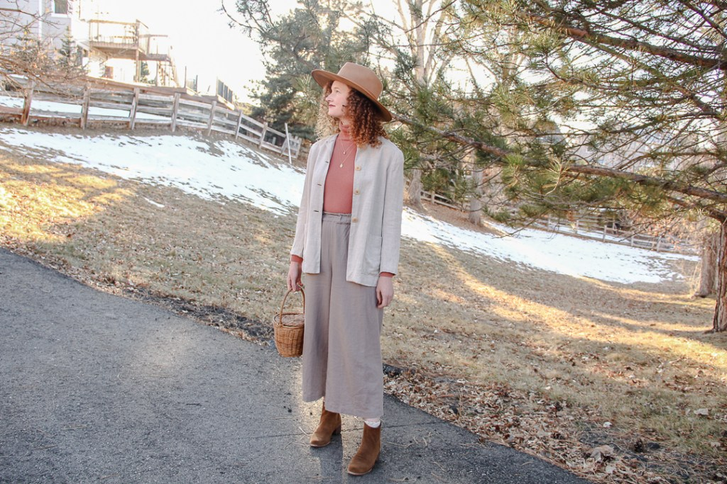 thrifted style winter linen outfit
