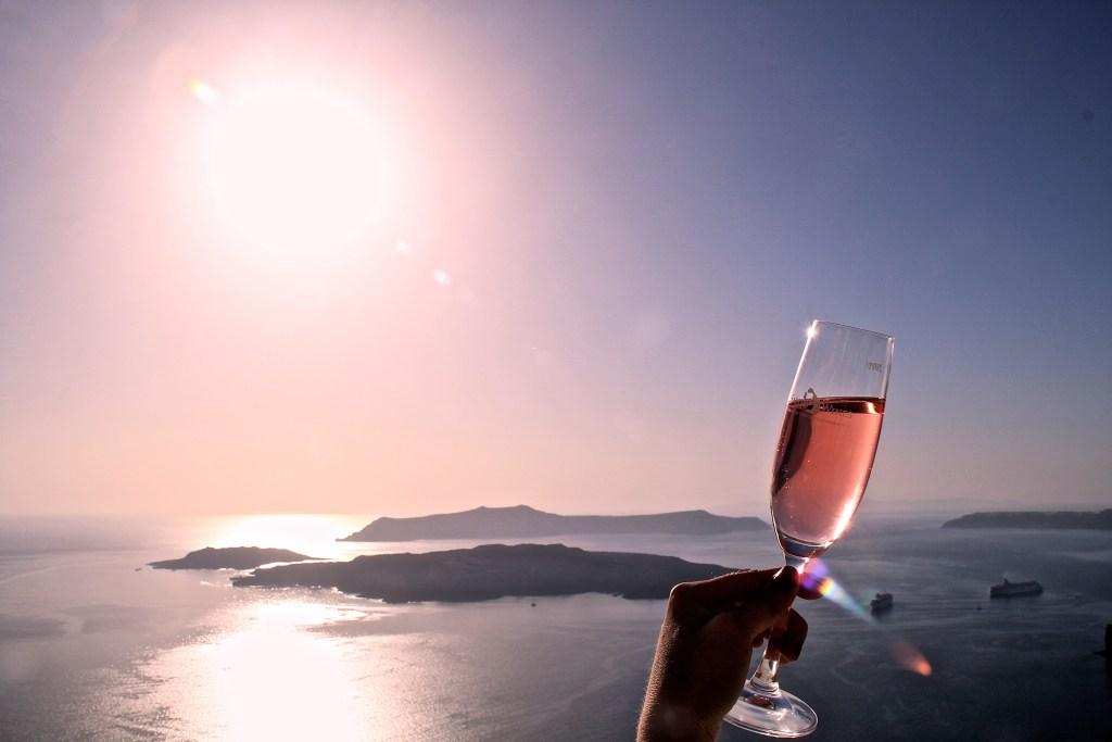 Sonnenuntergang Santos Winery Santorini