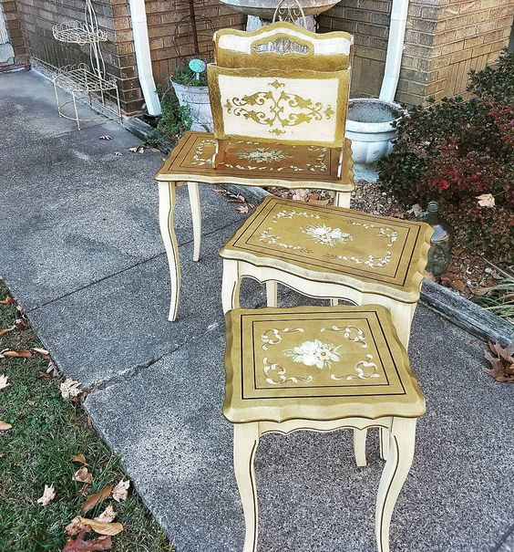 VIntage Italian Gold Florentine Nesting Tables and Magazine Holder
