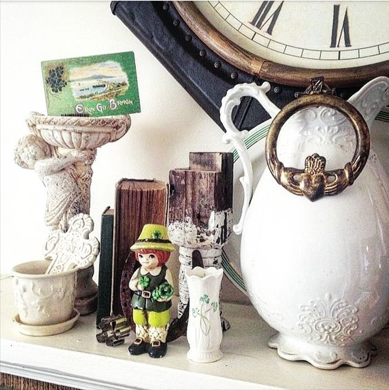 antiques vintage celtic white shabby chic brocante ironstone pitcher decorating with green Saint Patrick's Day
