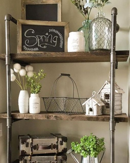 Rustic Farmhouse style shelf with spring accessories