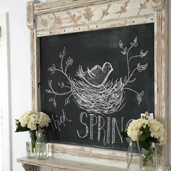 Gorgeous shabby chic mirror turned chalkboard with spring design