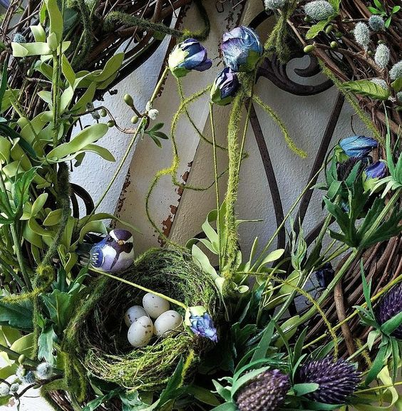 Gorgeous spring wreath grapevine wreath with thistle and moss blue roses diy