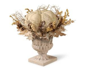 Beautiful neutral Fall decor white pumpkin in urn shabby chic fall