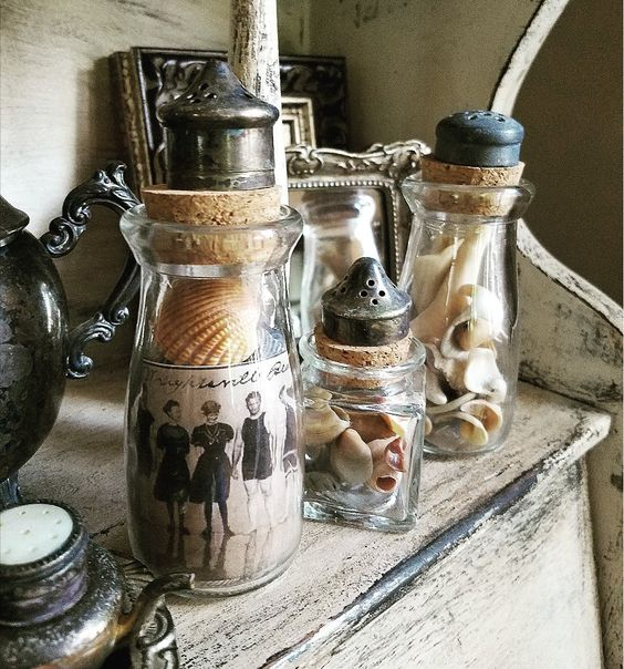Brocante upcycled bottles seashells in glass bottles repurposed salt shaker lids