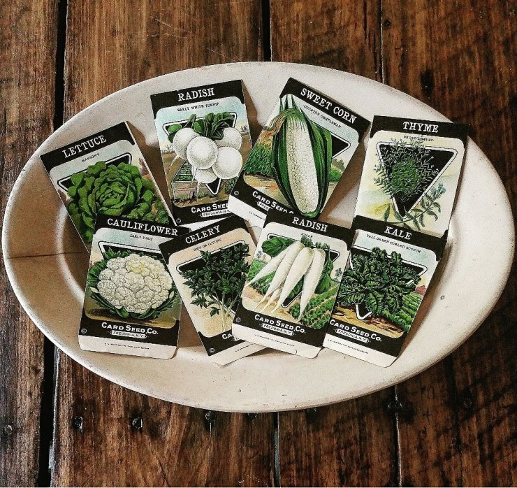Vintage Seed packets black and white Farmhouse style garden style ironstone platter