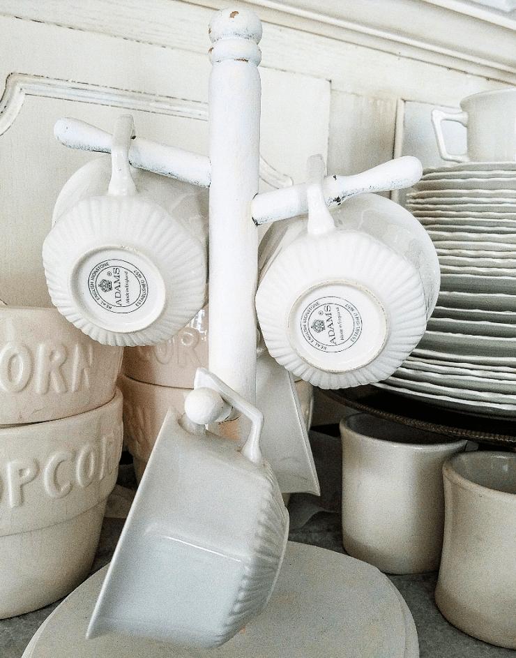 Cute collection of ironstone mugs mug rack coffee station ironstone collection Adams Ironstone