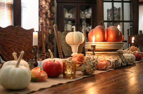 roses and pumpkins Romantic Homes Victoria beautiful fall dining room fall tablescape early fall decorating ideas